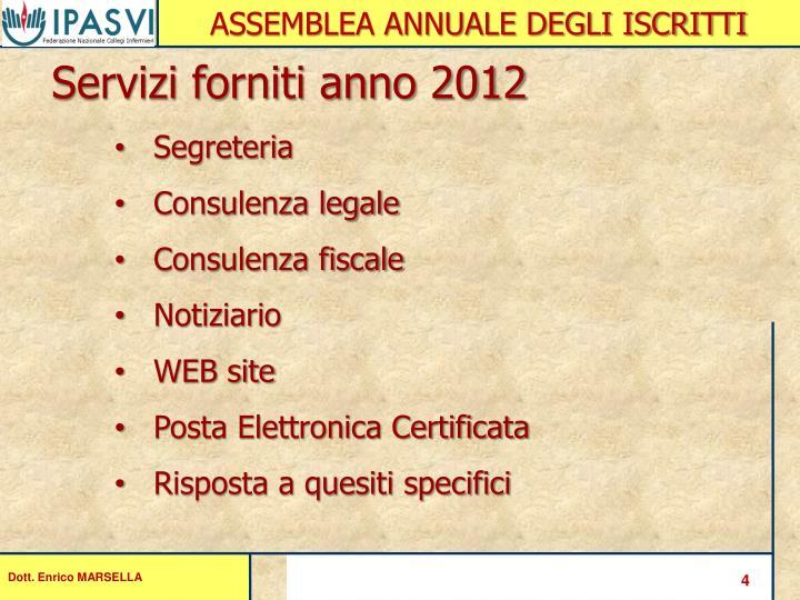 Servizi forniti anno 2012