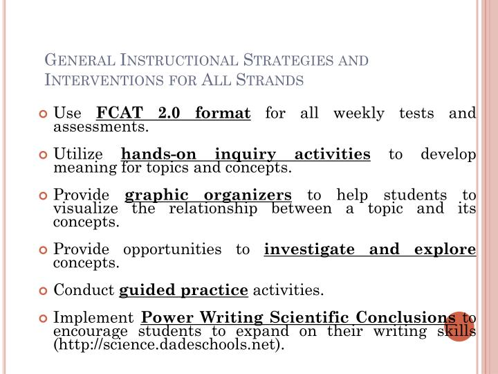 General Instructional Strategies and Interventions for All Strands