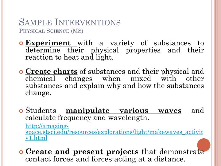 Sample Interventions