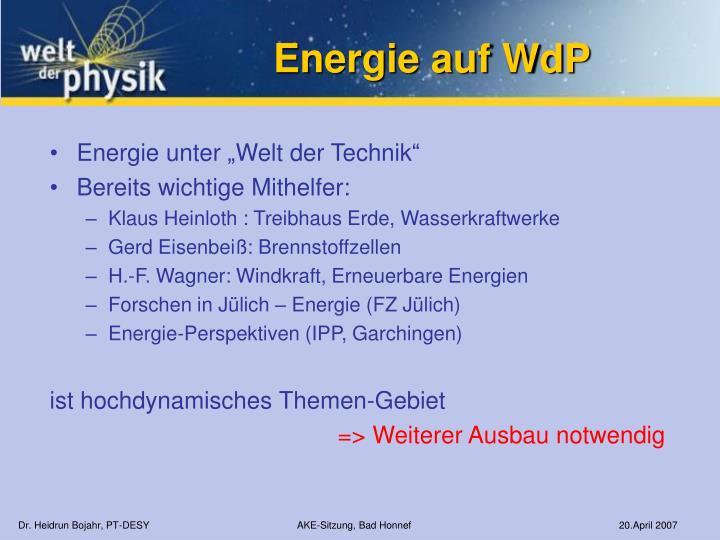 Energie auf WdP