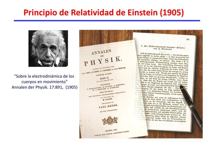 Principio de Relatividad de Einstein (1905)