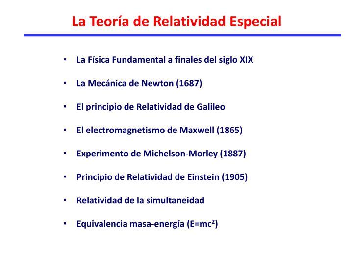 La Teoría de Relatividad Especial