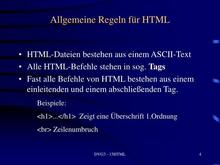 Allgemeine Regeln für HTML