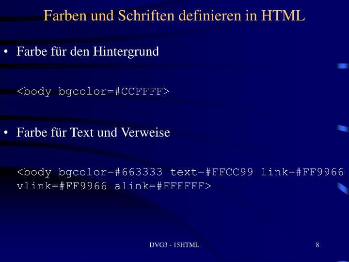 Farben und Schriften definieren in HTML