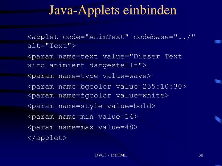 Java-Applets einbinden
