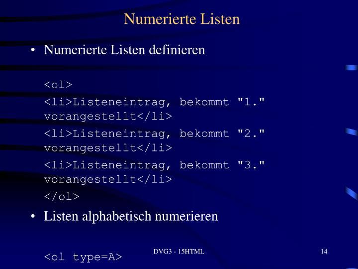 Numerierte Listen