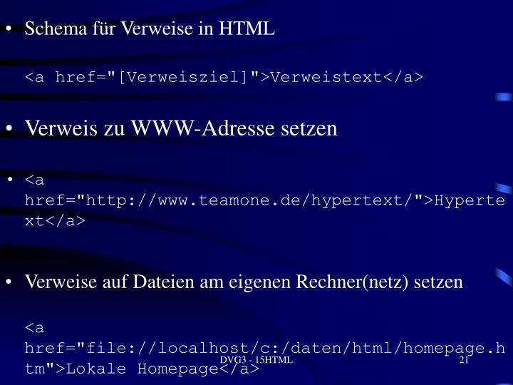 Schema für Verweise in HTML