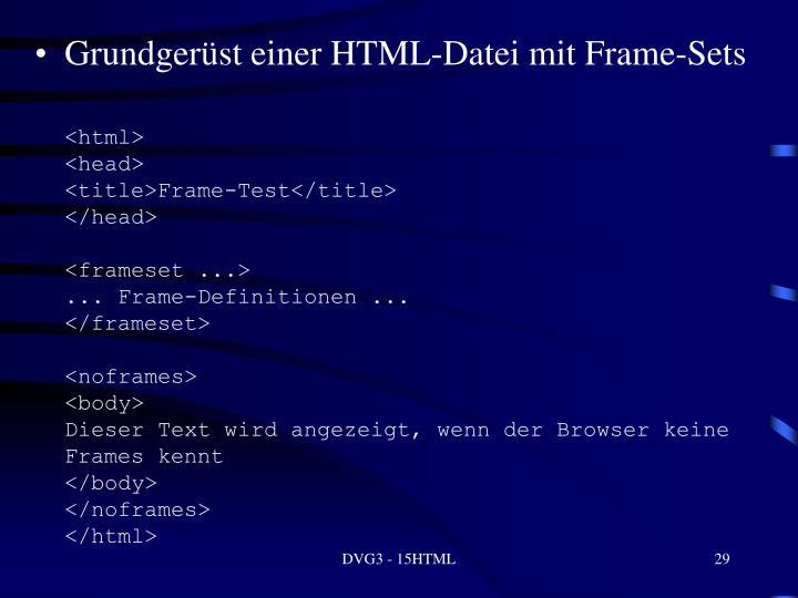 Grundgerüst einer HTML-Datei mit Frame-Sets