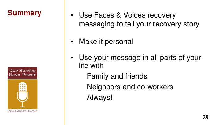 Use Faces & Voices recovery messaging to tell your recovery story