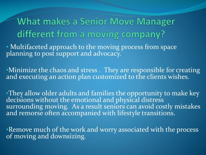 What makes a Senior Move Manager different from a moving company?