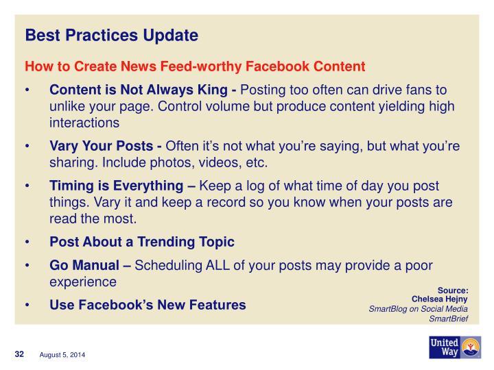 Best Practices Update