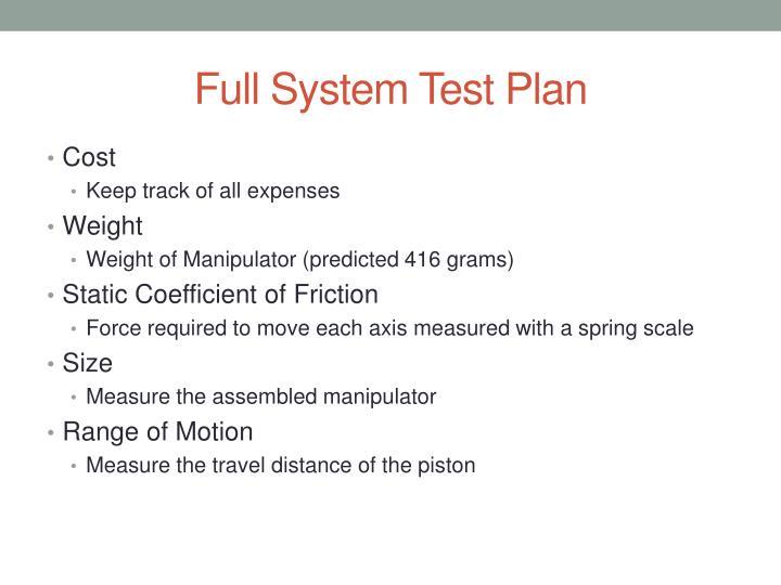 Full System Test Plan