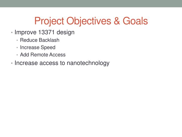 Project Objectives & Goals