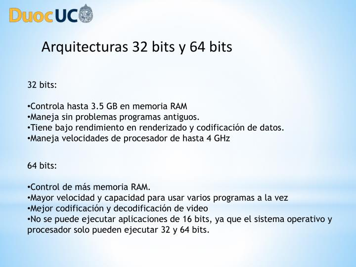 Arquitecturas 32 bits y 64 bits