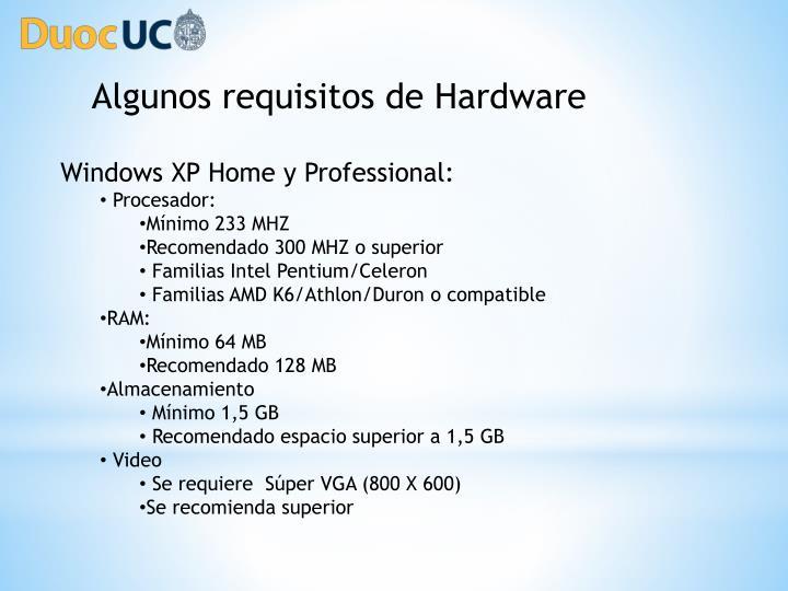 Algunos requisitos de Hardware