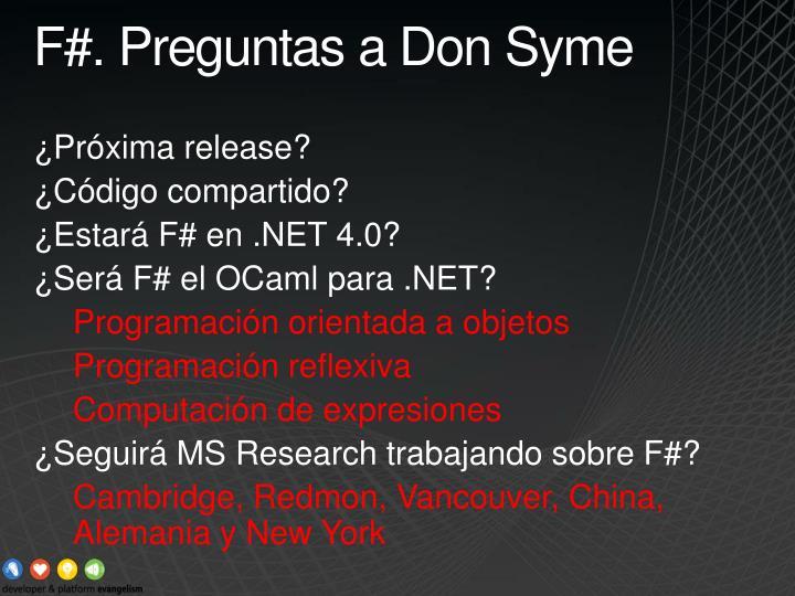 F#. Preguntas a Don