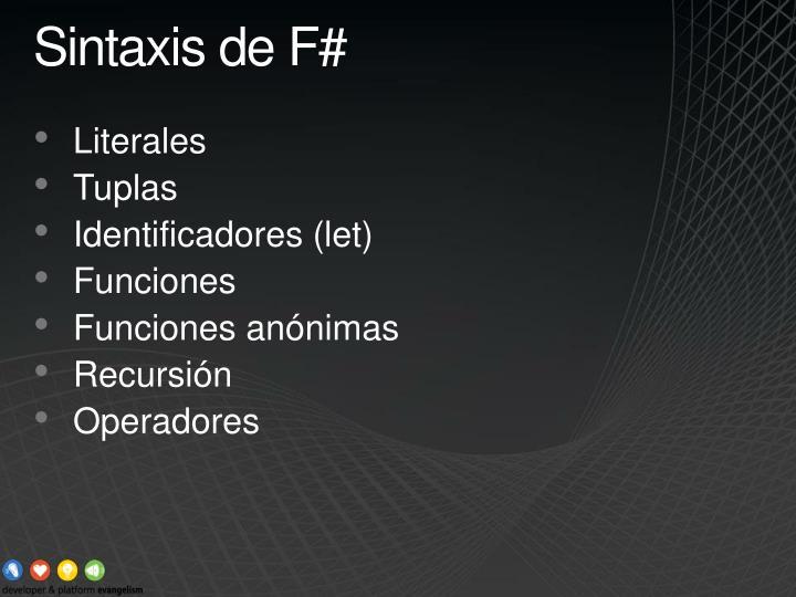 Sintaxis de F#