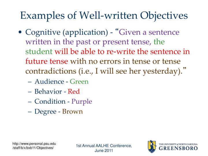 Examples of Well-written Objectives