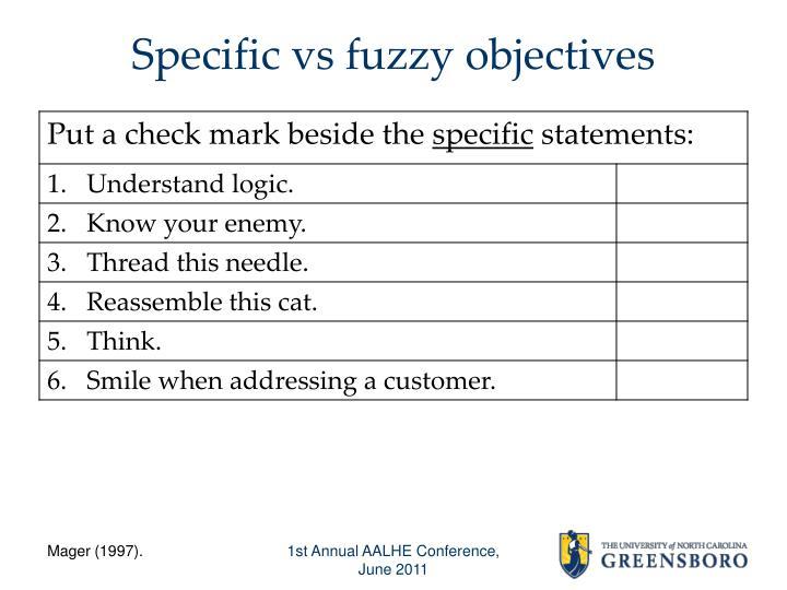 Specific vs fuzzy objectives