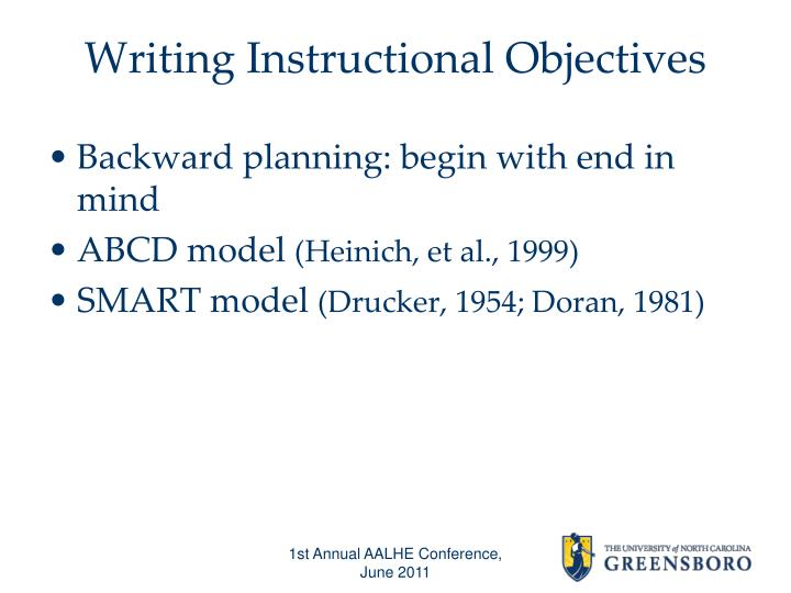 Writing Instructional Objectives