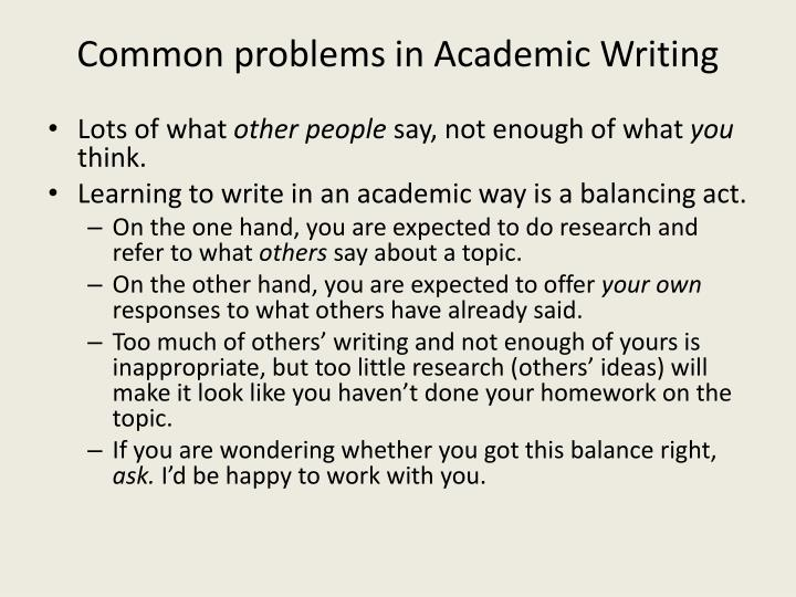 Common problems in Academic Writing