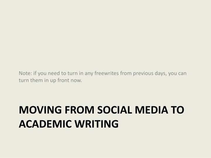 Moving from social media to academic writing