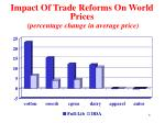 impact of trade reforms on world prices percentage change in average price