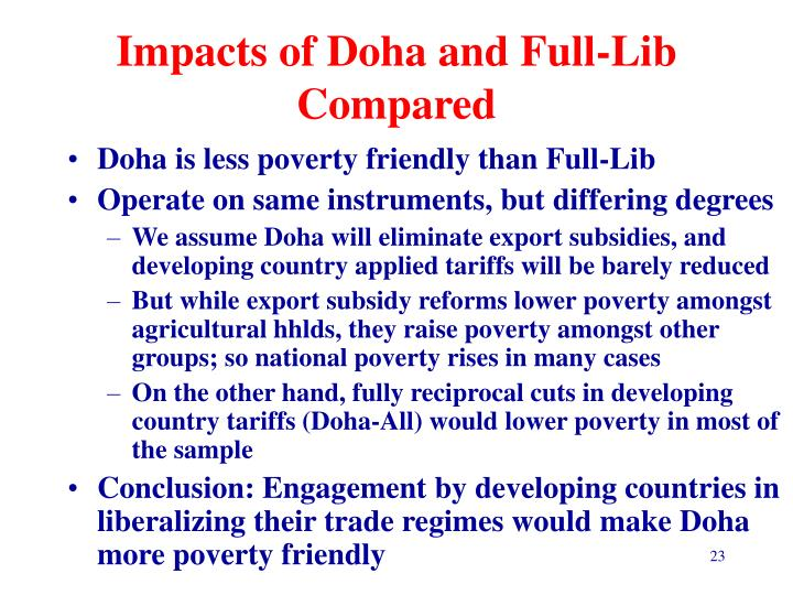 Impacts of Doha and Full-Lib Compared