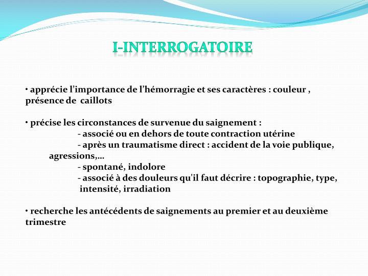 I-Interrogatoire
