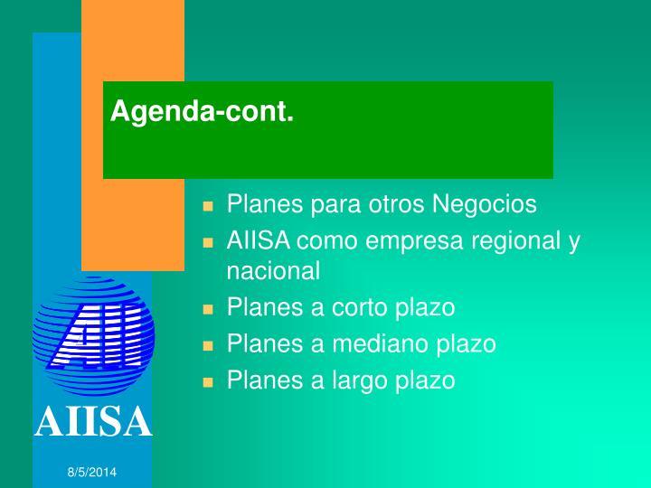 Agenda-cont.