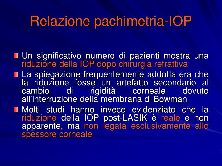 Relazione pachimetria-IOP