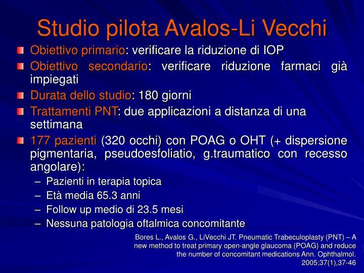 Studio pilota Avalos-Li Vecchi