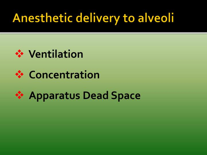 Anesthetic delivery to alveoli