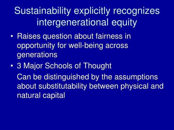 Sustainability explicitly recognizes intergenerational equity