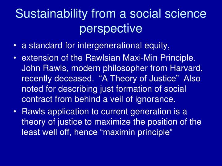 Sustainability from a social science perspective