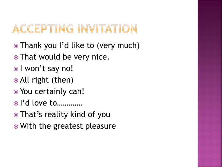 Accepting Invitation