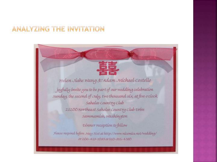ANALYZING THE INVITATION