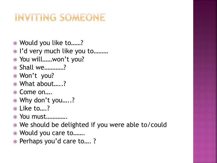 Inviting someone