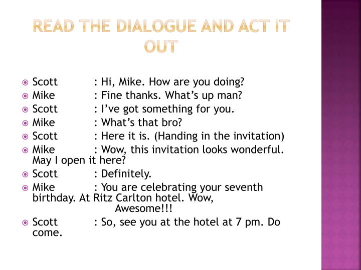 Read the dialogue and act it