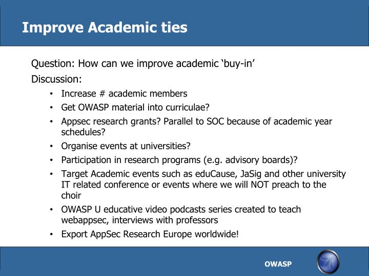 Improve Academic ties