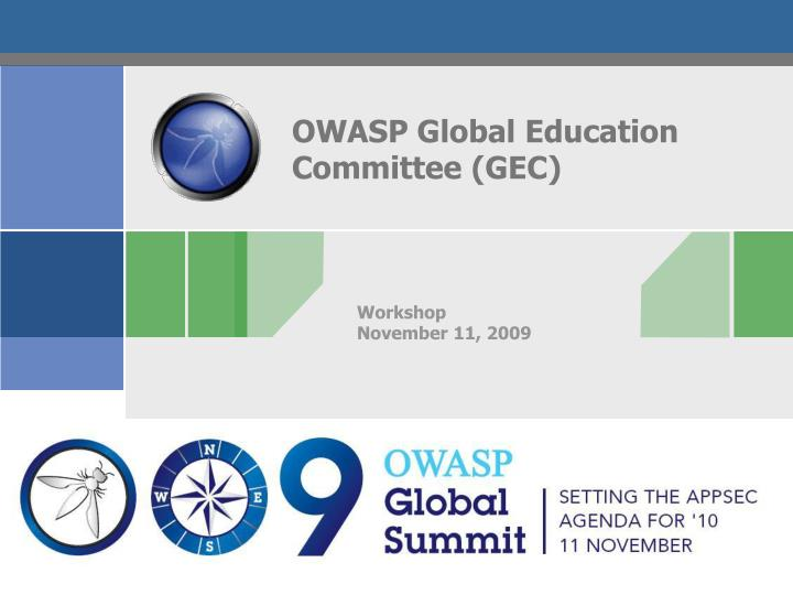 OWASP Global Education