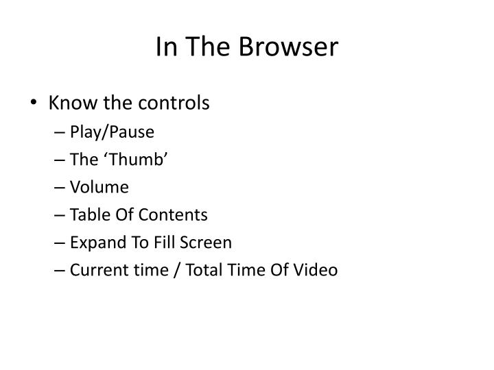 In The Browser