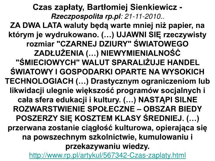 Czas zapłaty, Bartłomiej Sienkiewicz -