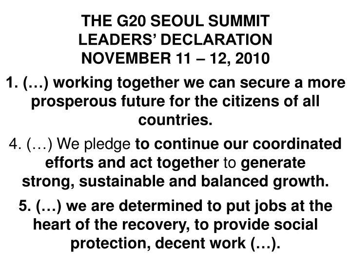 THE G20 SEOUL SUMMIT