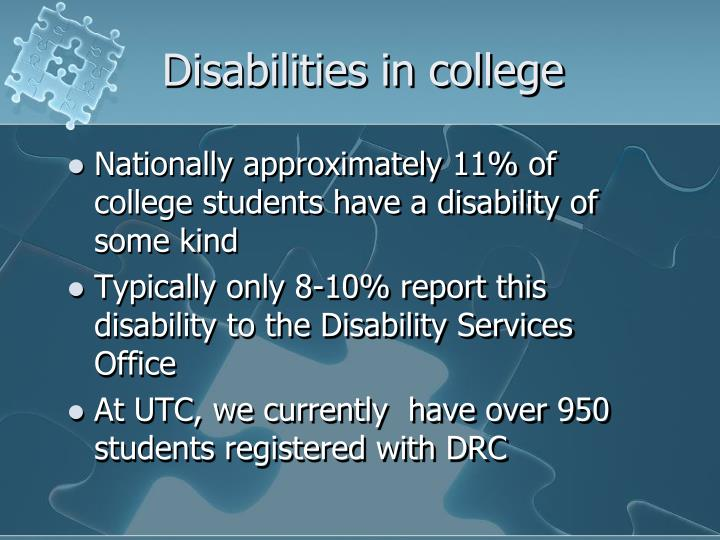 Disabilities in college
