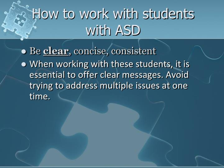 How to work with students with ASD