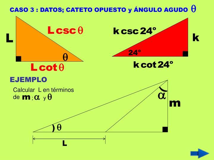 CASO 3 : DATOS; CATETO OPUESTO y ÁNGULO AGUDO