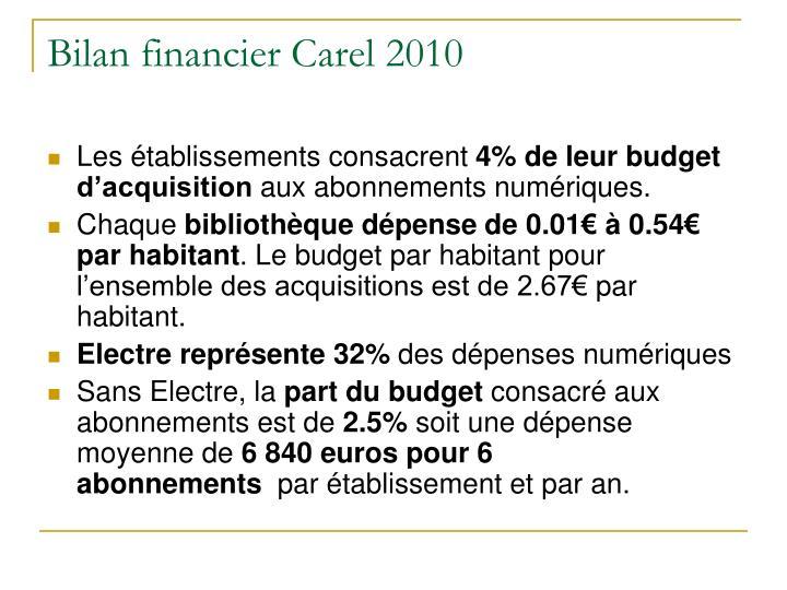 Bilan financier Carel 2010