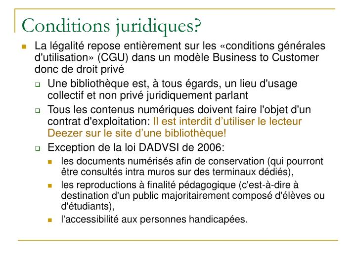 Conditions juridiques?