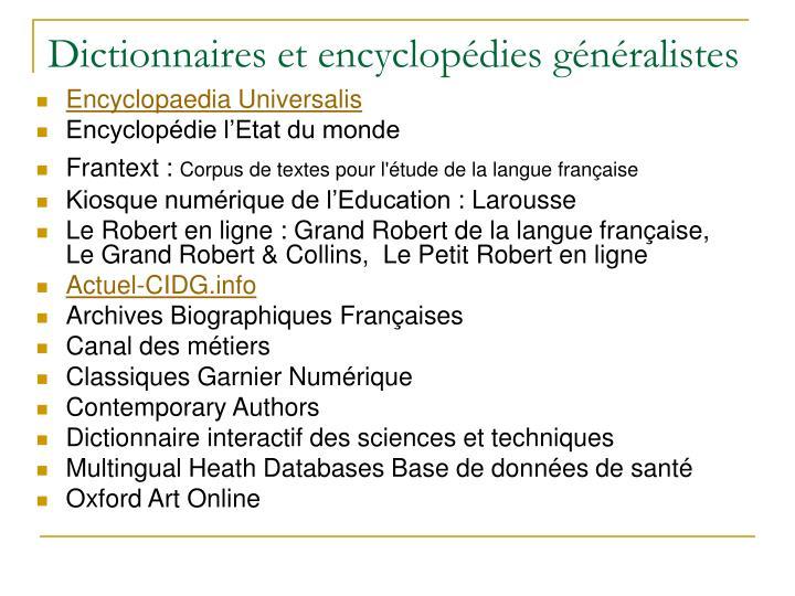 Dictionnaires et encyclopédies généralistes